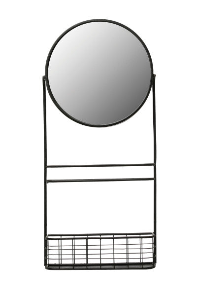 Round Metal Wall Mirror with Basket and Shelf