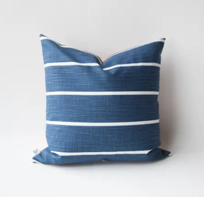 Navy Stripe and Leather Back Pillow with Fill