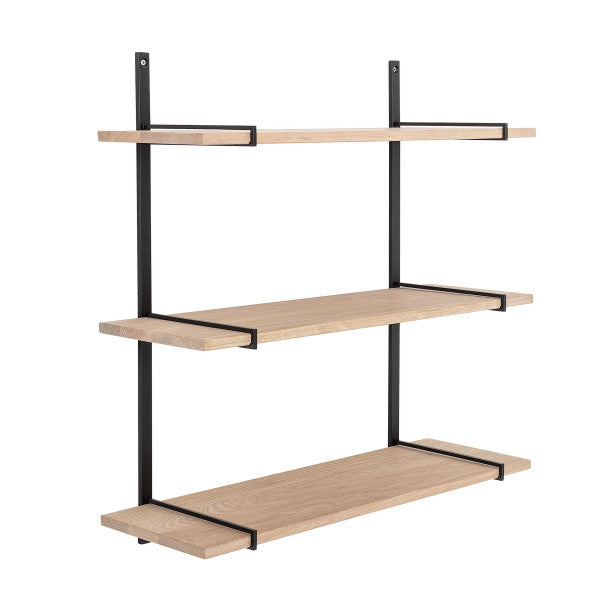 3-Tier Oak Wood Wall Shelf with Black Metal Frame