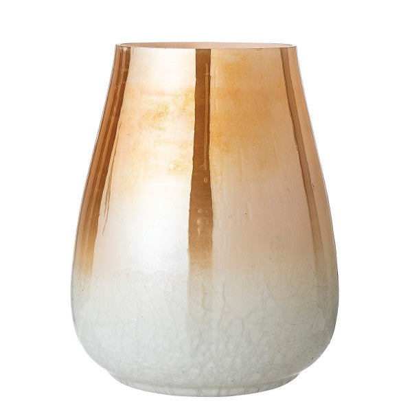 Amber Glass Vase with Pearlized Finish