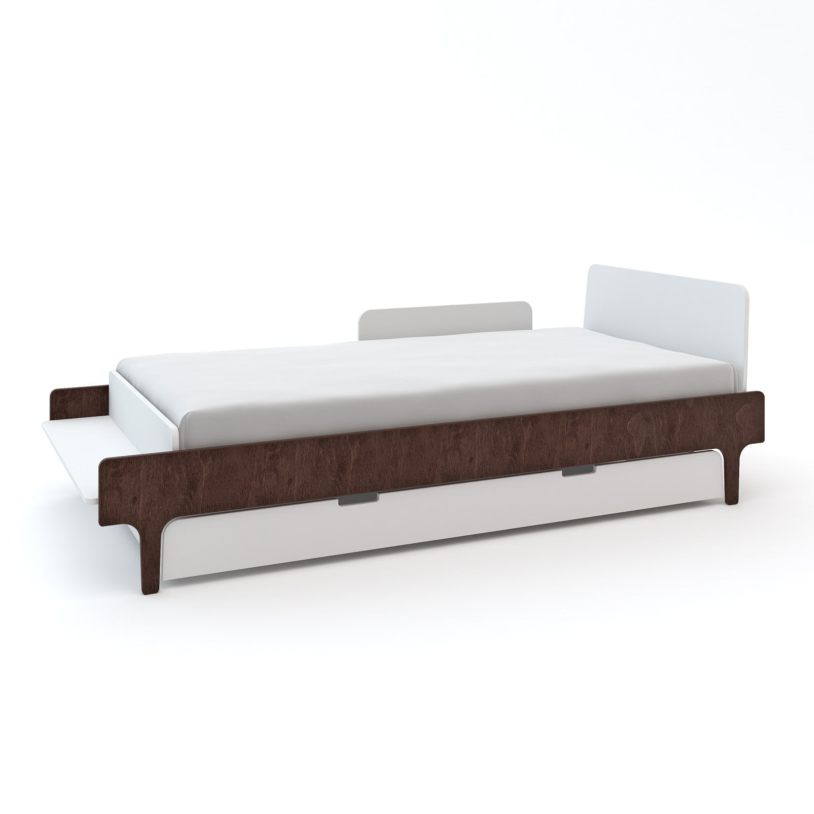 White/Walnut with Trundle and Security Rail