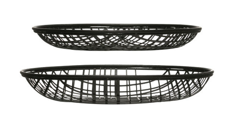 Decorative Round Metal Wire Baskets, Set of 2
