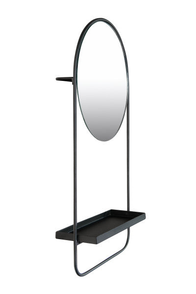 Round Metal Wall Mirror with Shelf