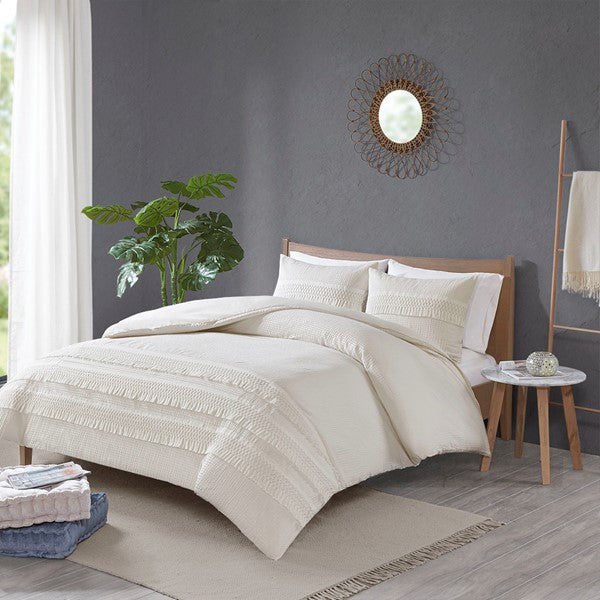 3 Piece Cotton Seersucker Comforter Set