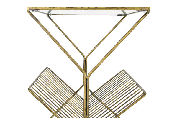 Metal Table w/ Glass Top & Magazine Rack, Gold Finish