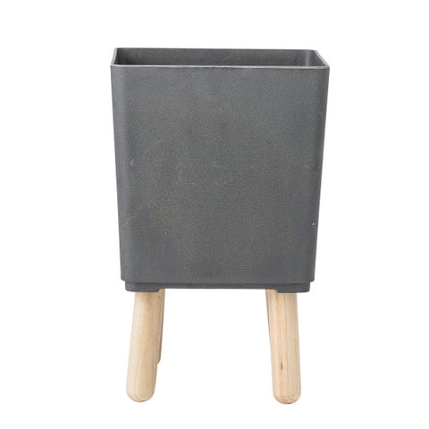 Black Bamboo Fiber Planter with Natural Wood Legs