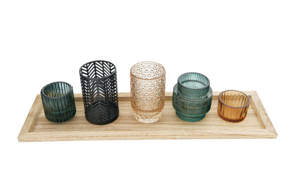 Embossed Glass & Metal Votive Holders on Rectangle Wood Tray (Set of 6 Pieces)
