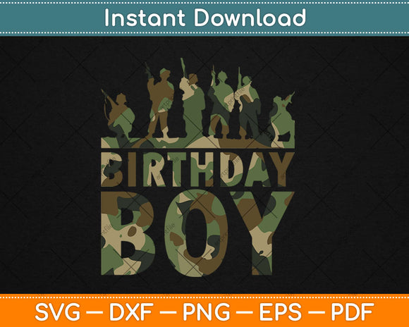 Birthday Boy Army Party Military Party Supplies Camo Svg
