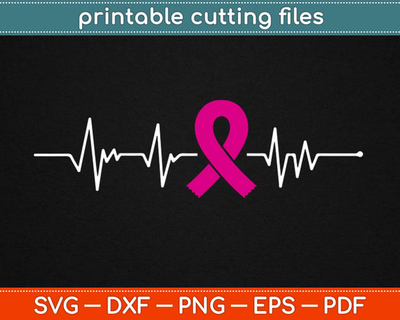 Breast Cancer Heartbeat Svg Design Cricut Printable Cutting