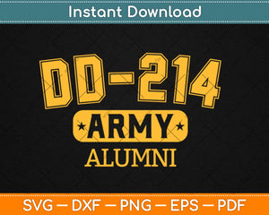 DD-214 Army Alumni Brave Retired US Army Veterans Svg Design