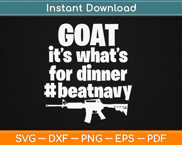 Goat It's What's For Dinner Beat Navy Svg Design Cricut