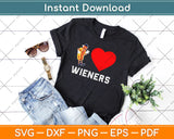 I Love Wieners Heart BBQ LGBT Gay Funny Hot Dog Svg Png Dxf