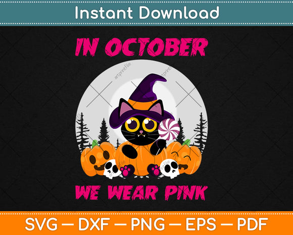 In October We Wear Pink Three Pugs Halloween Breast Cancer