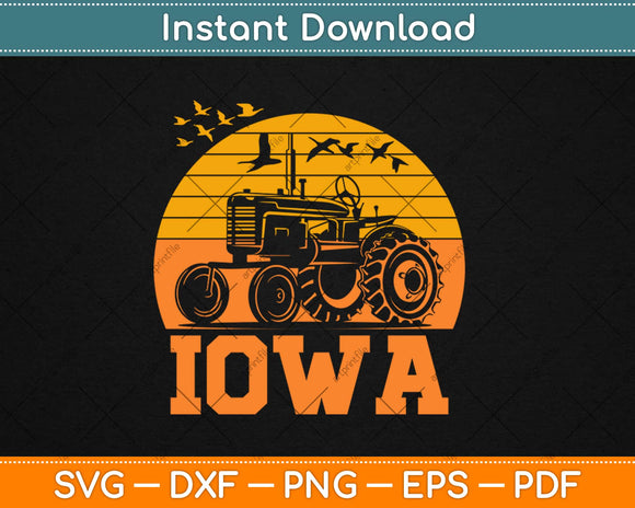 Iowa Vintage Retro Tractor Farmer Svg Design Cricut