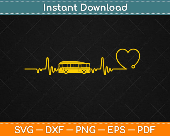 Love Heartbeat School Bus Driver Svg Design Cricut Printable