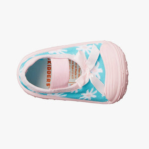 "Skidders Baby Girls Shoes ""Aqua Pink Flower"""