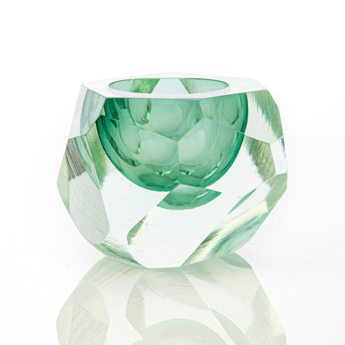 Glacier Cut Votive - David Reade Glass Art