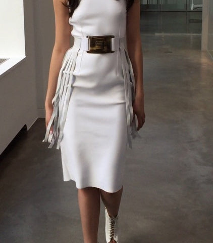 White fringe belt