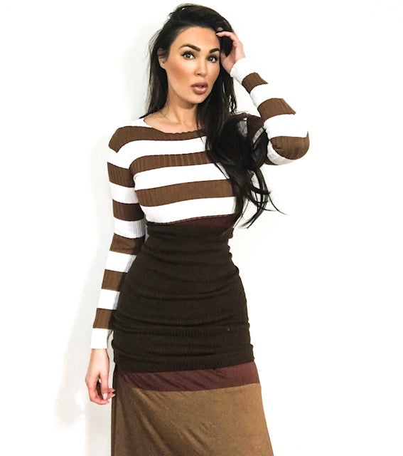 Chocolate striped sweater