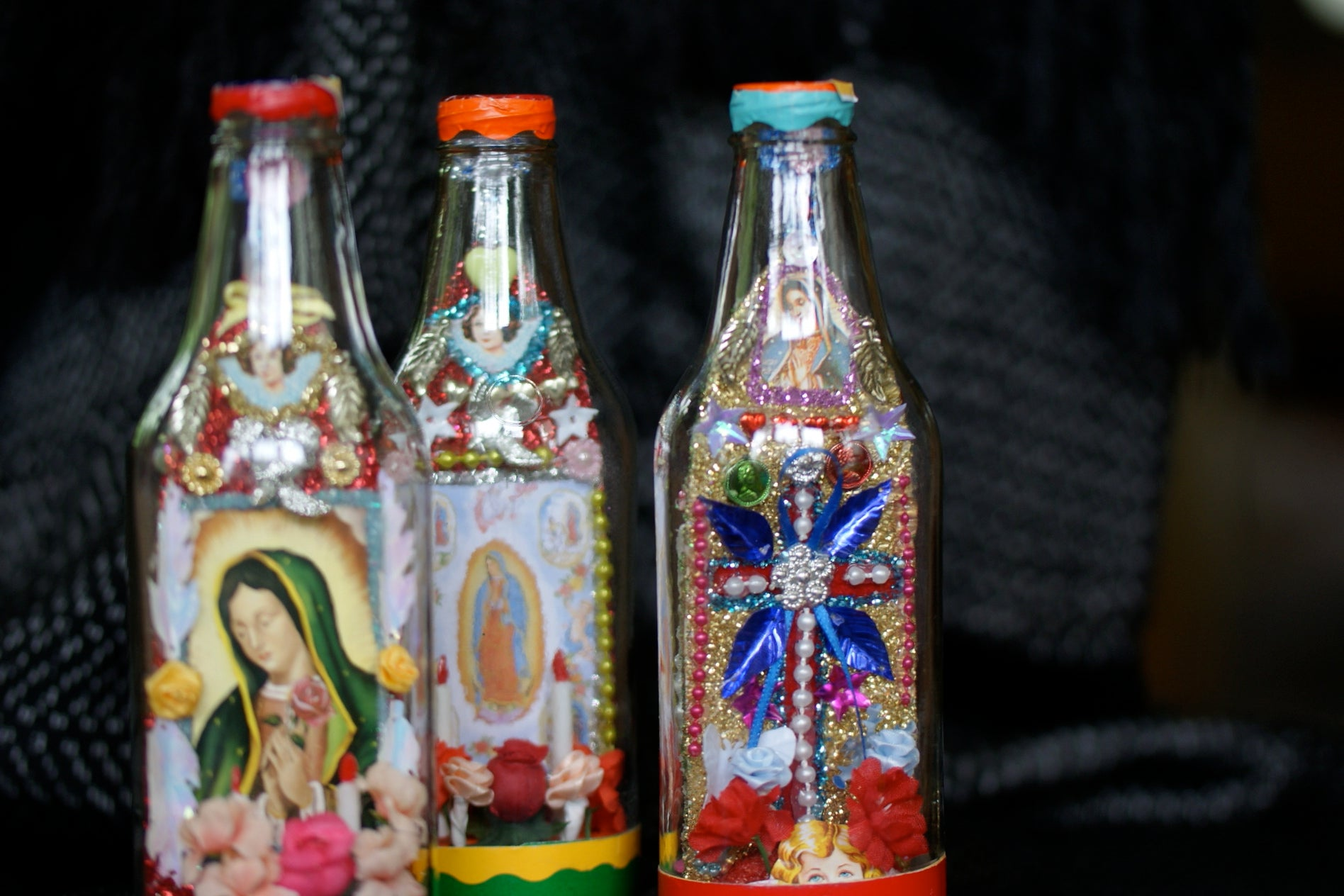 Decorated religious bottles