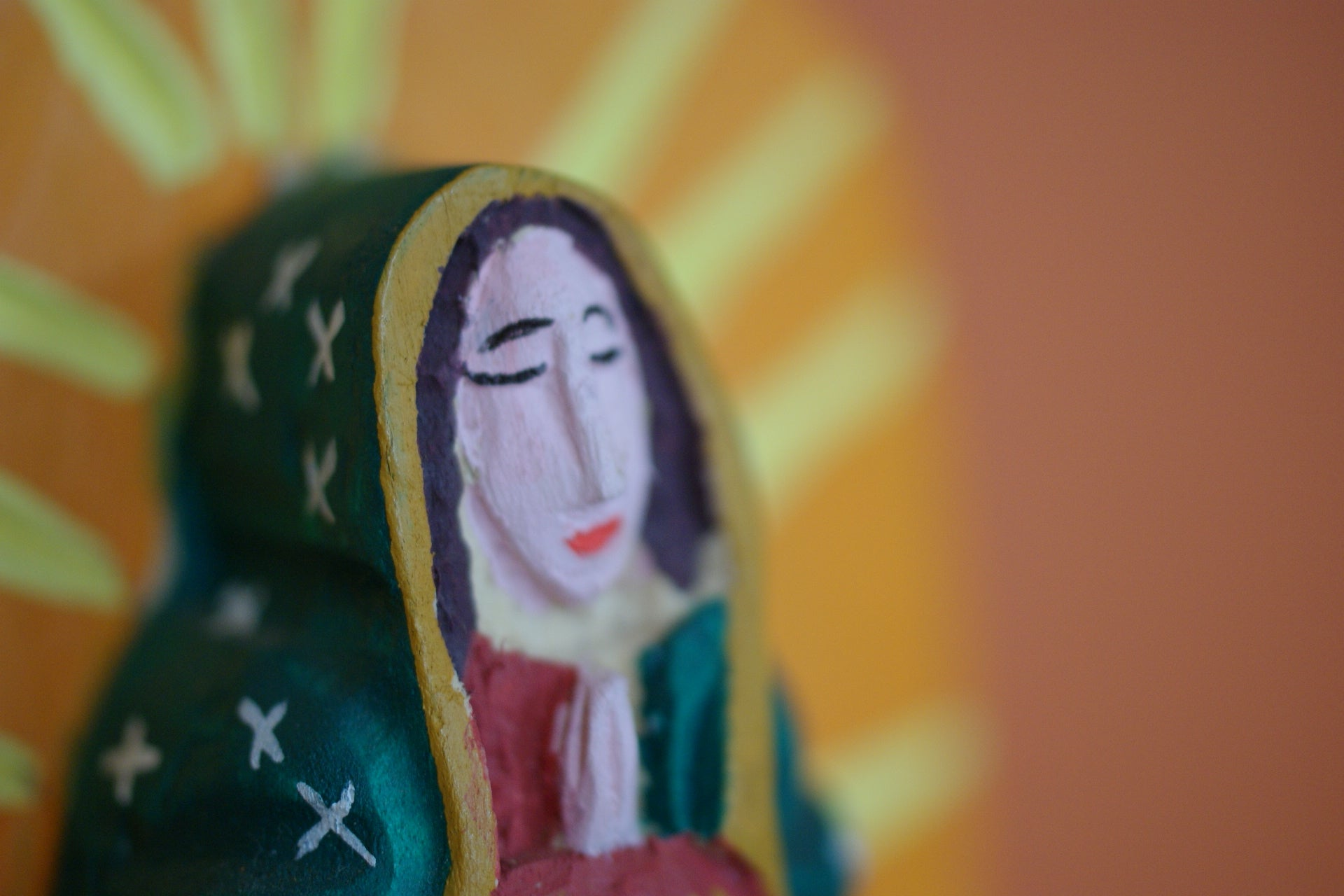 Wooden saint of Virgen de Guadalupe
