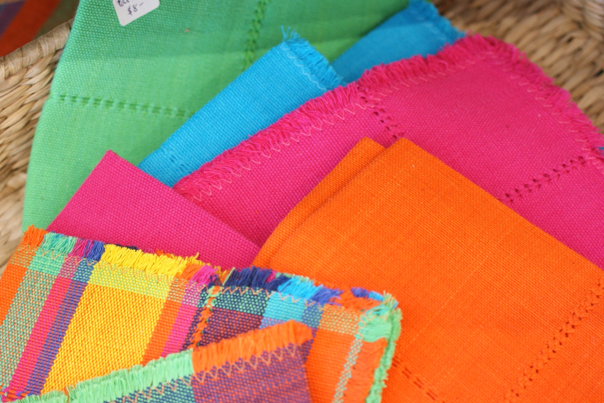 Beautiful Michoacan Cotton Textiles. Patzcuaro Mexico Tablecloth