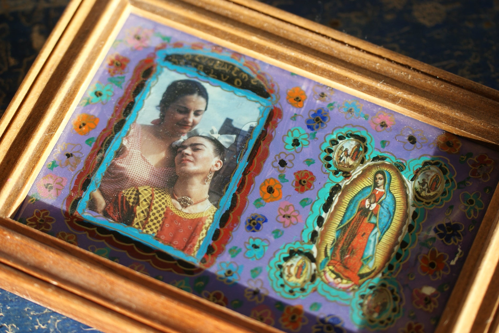 Reverse Glass Paintiing of Frida Kahlo and her sister