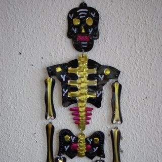 Tall Cut Tin Articulated Skeletons, Day of the Dead - Zinnia Folk Arts