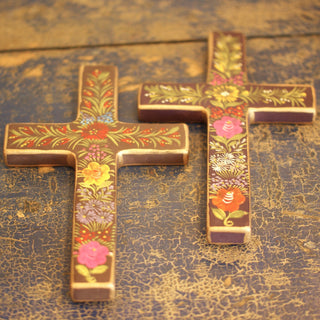 Lacquered & Painted Chiapas Wood Crosses, Large and Medium Sizes - Zinnia Folk Arts