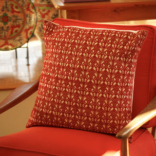 "Traditional Red on White San Andres Chiapas Pillow, 20"" - Zinnia Folk Arts"