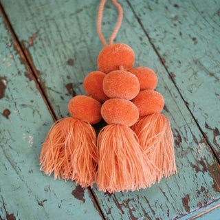 One Color Wool Pompoms, Sets of 5, 6 or 7 Poms with Tassel - Zinnia Folk Arts