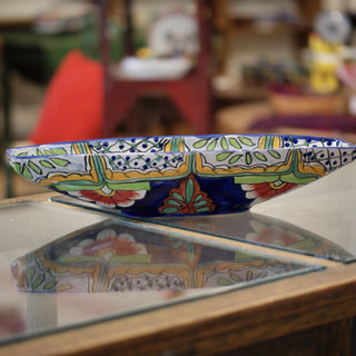 Mexican Talavera Canoe Shaped Bowl - Zinnia Folk Arts