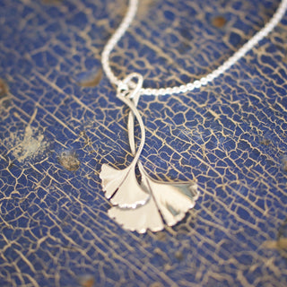 Mexican Gingko Necklace, Sterling Silver, Taxco - Zinnia Folk Arts