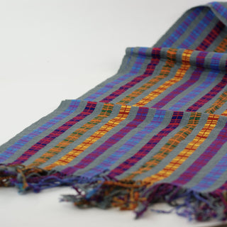 Striped Multi Colored on Gray Field, Chamula Rebozo or Large Scarf - Zinnia Folk Arts