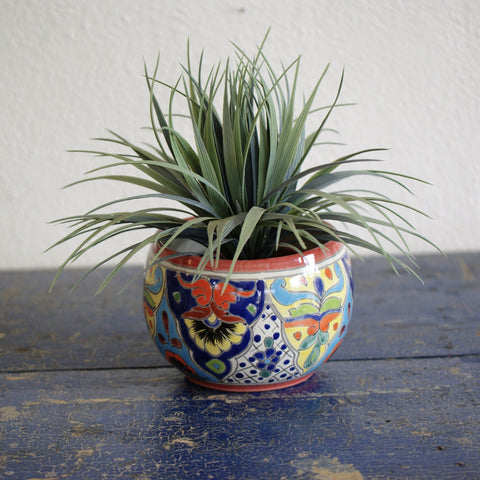 Round Mexican Talavera Flower Pots, Small - Zinnia Folk Arts