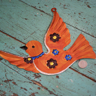 Large Painted Tin Decorative Birds - Zinnia Folk Arts