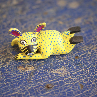 Tiny Carved Wooden Animals from Oaxaca, Taking a Rest - Zinnia Folk Arts