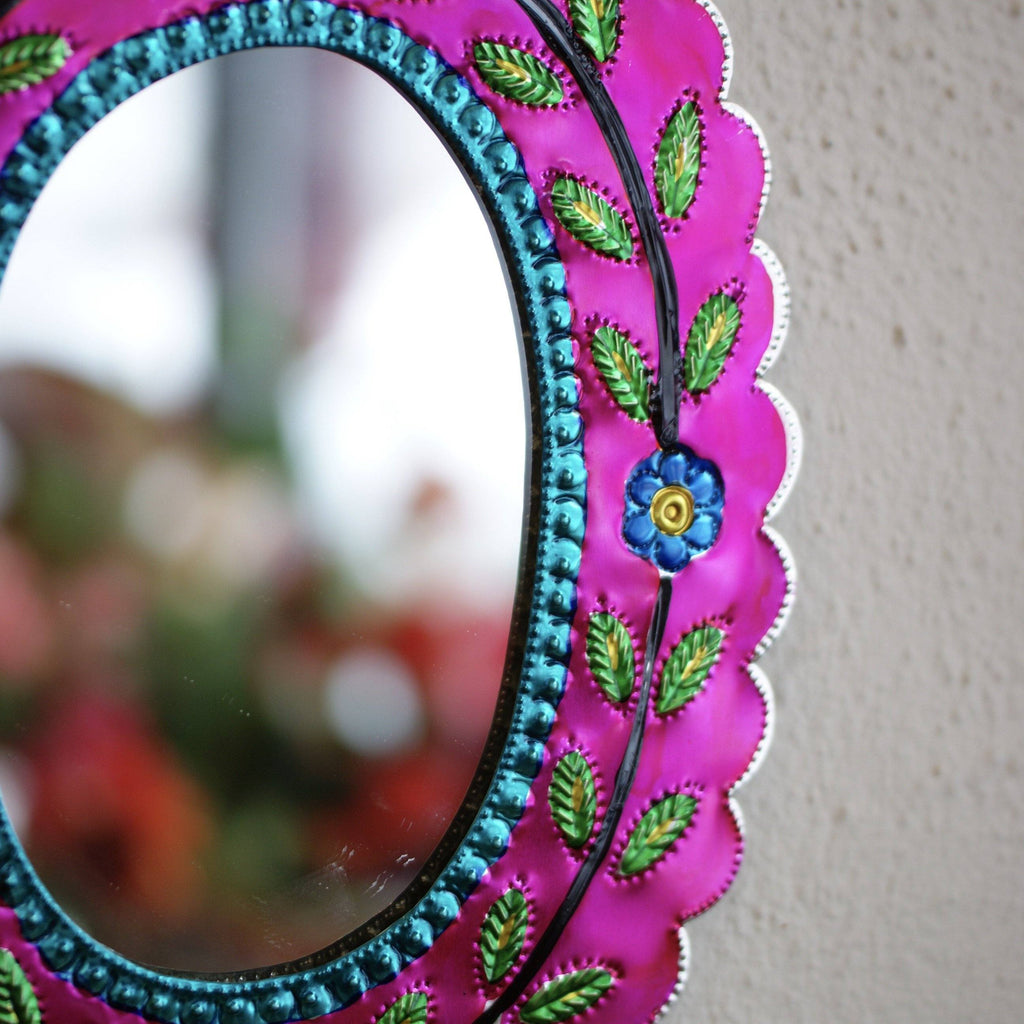 Colorful Painted Oval Tin Mirror - Zinnia Folk Arts