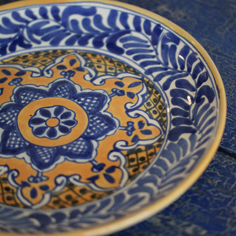 Handmade Blue, Yellow & White Plates, Two Sizes, in the Talavera Style - Zinnia Folk Arts