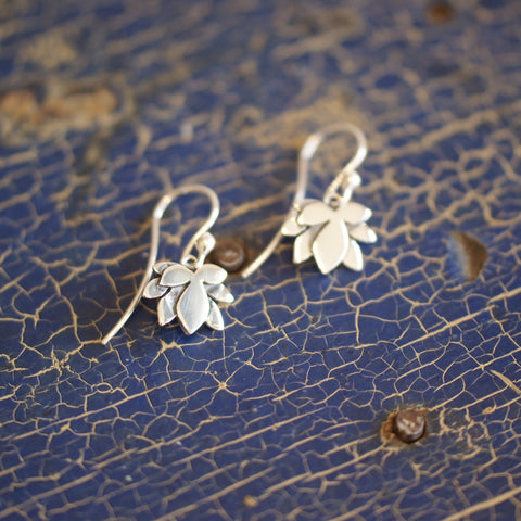 Lotus Flower Earrings, Sterling Silver - Zinnia Folk Arts