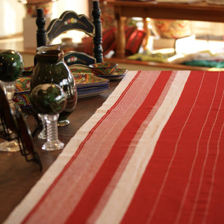 Red and White Wide and LONG Table Runner, Oxchuc - Zinnia Folk Arts
