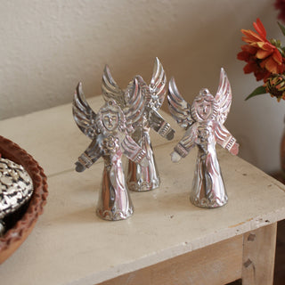 3-D Natural Tin Angel Ornaments, Medium Size - Zinnia Folk Arts