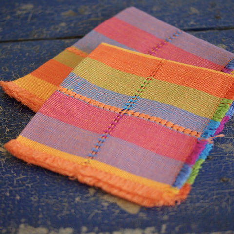 Guanajuato Handwoven Cotton Napkins, Plaids and Stripes - Zinnia Folk Arts