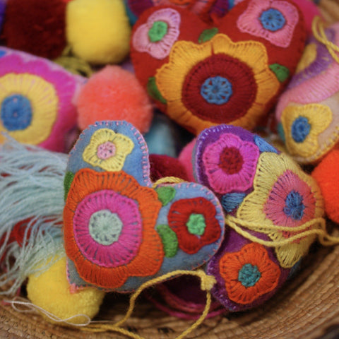 Soft Flannel Mexican Hearts With Gorgeous Pom Poms - Zinnia Folk Arts
