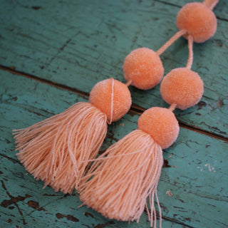 Wool Pompoms, Sets of 5 or 6 with Tassel - Zinnia Folk Arts