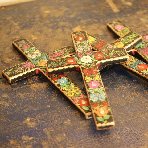 Lacquered & Painted Chiapas Wood Crosses, Large and Medium Sizes