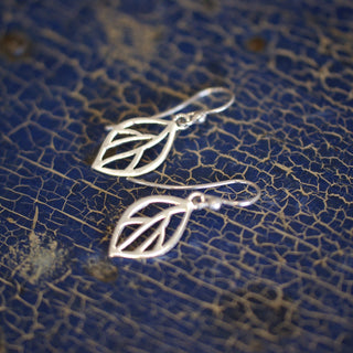 Incised Silver Leaf Earrings - Zinnia Folk Arts