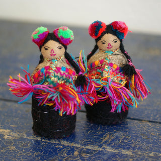 Chamula Chiapas Dolls with Pompoms, 2 Sizes - Zinnia Folk Arts