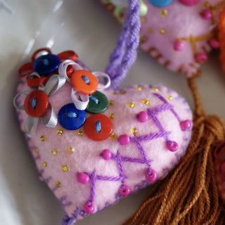 Soft Flannel Mexican Hearts, Pastel Colors, Button Decoration - Zinnia Folk Arts