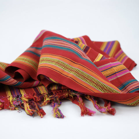 Red, Yellow and Fiesta Colors Striped Tablerunner, Pantelho Chiapas - Zinnia Folk Arts